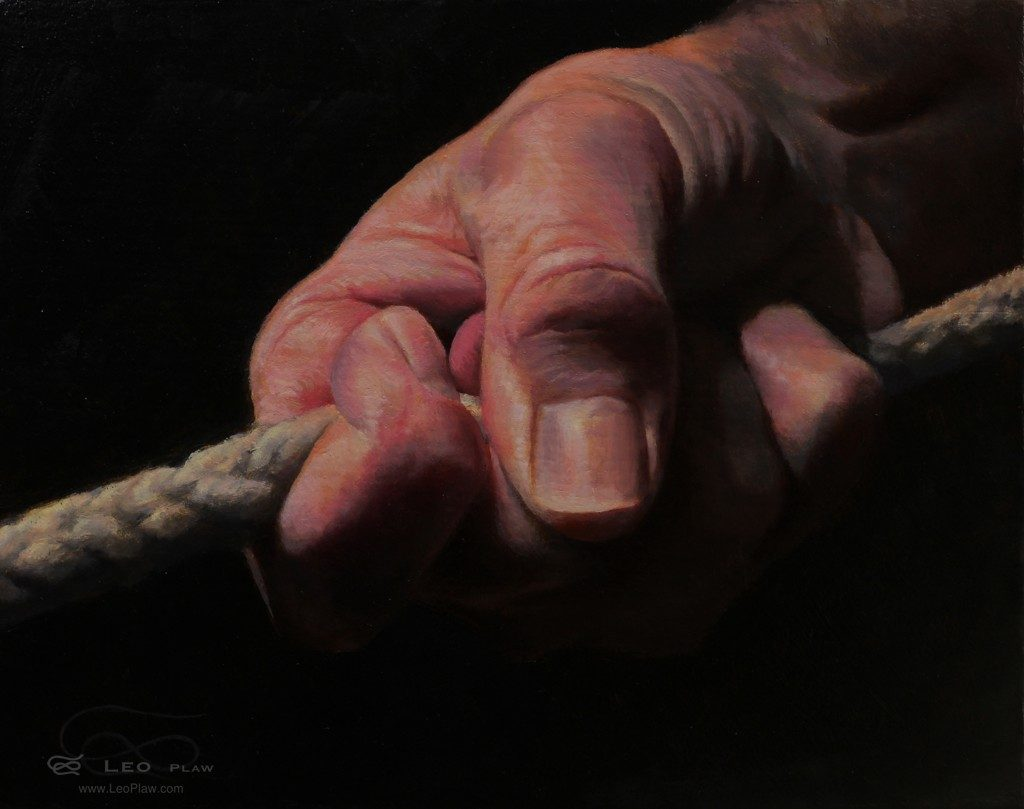 """Hands 36"", Leo Plaw, 30 x 24cm, oil on canvas"
