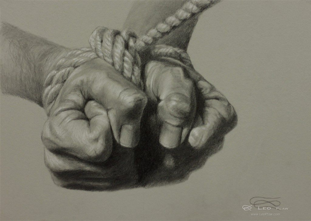 """Hands 37 - Drawing"", Leo Plaw, 34 x 24cm, graphite pencil on paper"