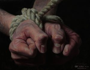 """Hands 37"", Leo Plaw, 30 x 24cm oil on canvas"