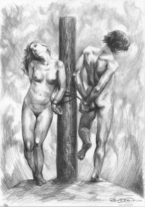 """Bound"", 21 x 30cm A4, graphite on paper"