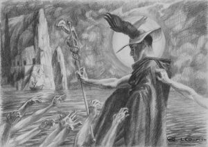 """Souls of Acheron - drawing"", Leo Plaw, 30 x 21cm, graphite pencil on paper"