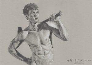 """Demolition (drawing)"", Leo Plaw, 34 x 24cm, oil on canvas"