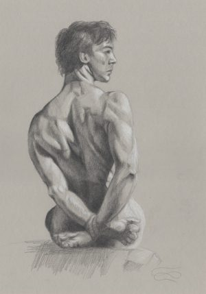 """Captive (drawing)"", Leo Plaw, 24 x 34cm, graphite on paper"