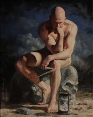 """Making Time"", Leo Plaw, 24 x 30cm, oil on canvas"