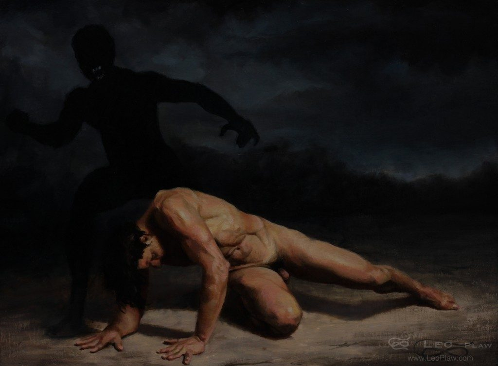 """""""Shadow Boxing"""", 40 x 30cm, oil on canvas"""