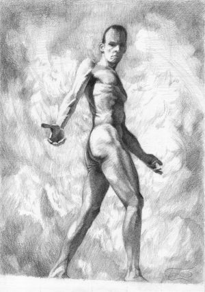 """Figure 49"", Leo Plaw, 21 x 30cm, graphite pencil on paper"