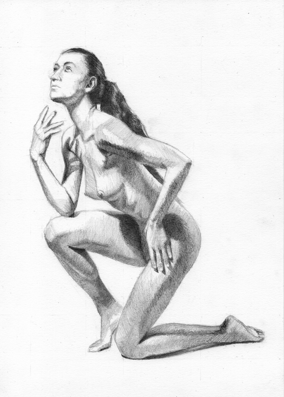 """Figure 54 - Graphite Drawing"", Leo Plaw, 21 x 30cm, graphite pencil on paper"