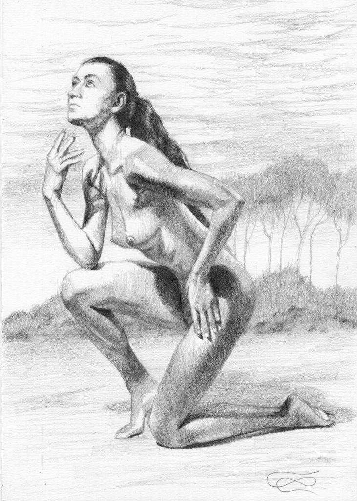 """Figure 54 - Graphite Drawing"", Leo Plaw, 21 x 30 cm, graphite pencil on paper"