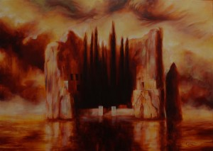 """The Isle of Böcklin II"", Leo Plaw, 70 x 50 cm, oil on canvas original for sale"