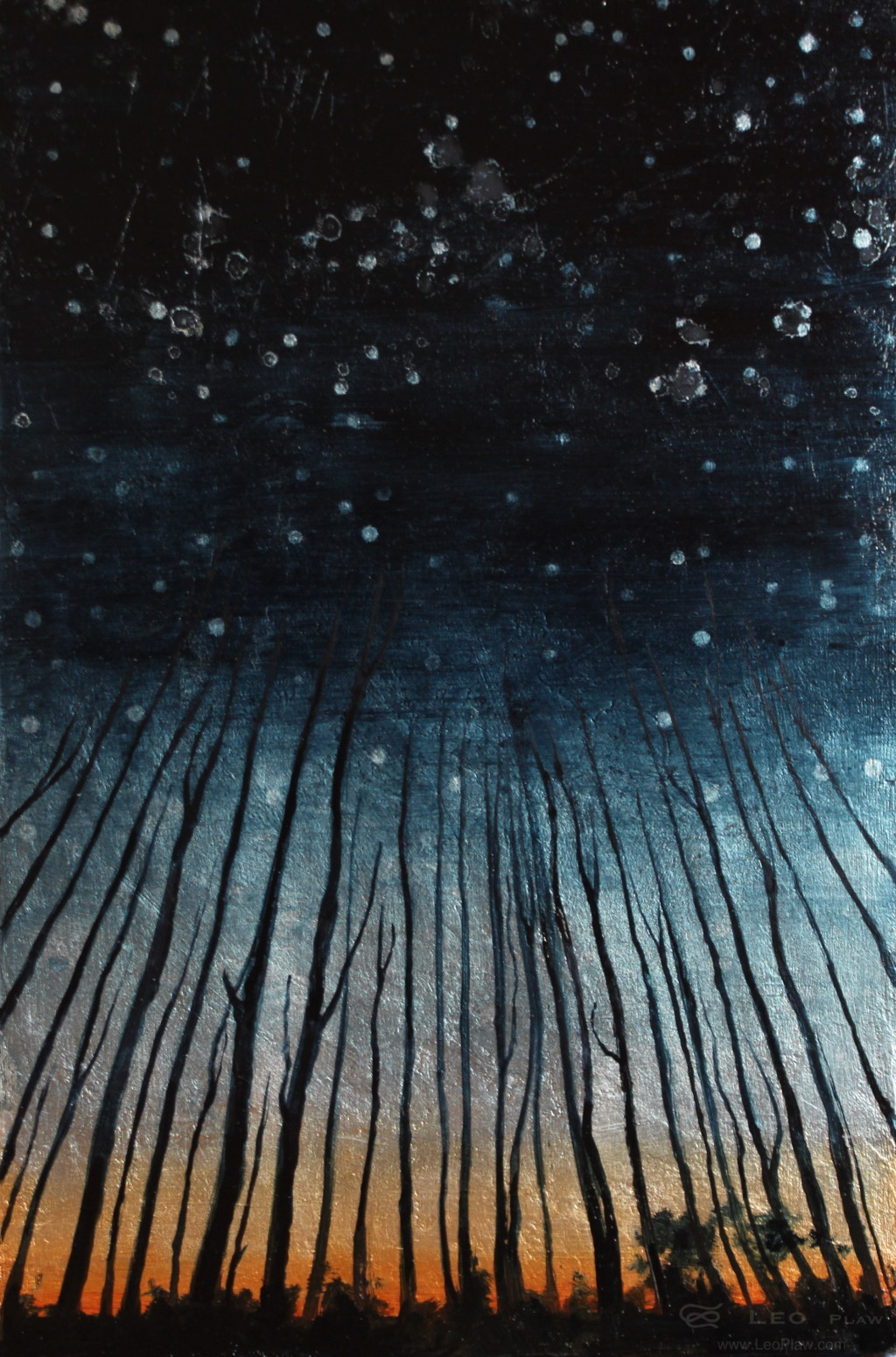 """Trees II"", 20 x 30 cm, oil on metal and wood"