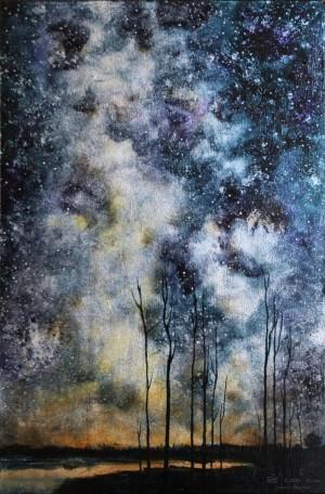 """""""Trees IV"""", 20 x 30 cm, oil on leaf metal and wood"""