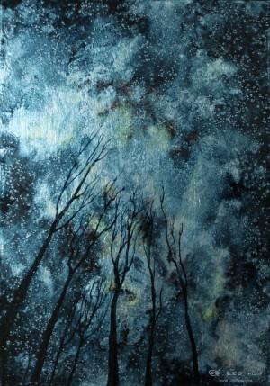 """""""Trees VII"""", 21 x 30cm, oil on leaf metal and wood"""