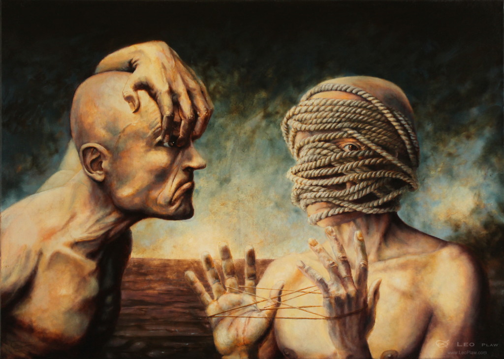 """""""The Debate"""", Leo Plaw, 70 x 50cm, oil on canvas"""