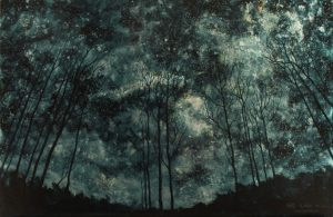 """""""Trees XII"""", Leo Plaw, 60 x 40cm, oil on leaf metal and wood"""