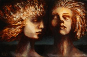 """""""Sisters"""", Leo Plaw, 30 x 20cm, oil on canvas"""