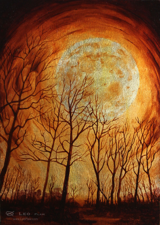 """Trees XIII"", 21 x 30cm, oil on leaf metal and wood"
