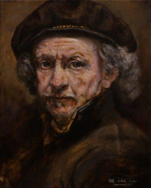 Rembrandt (portrait study), Leo Plaw, 24 x 30cm, oil on canvas