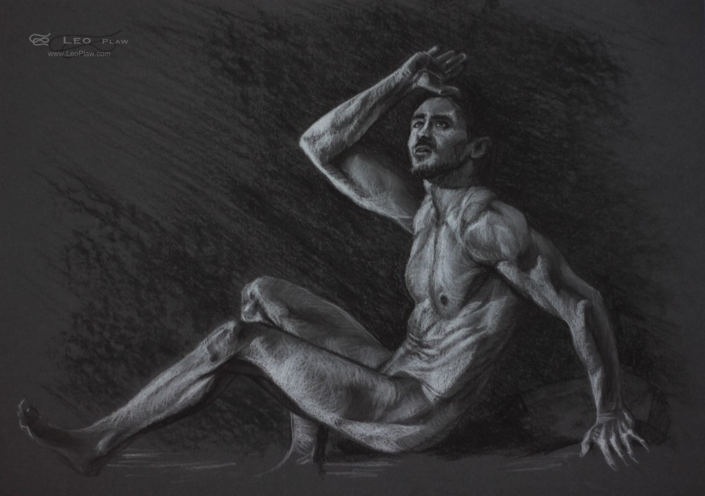 Figure 15, Leo Plaw, 34 x24cm, pastel pencil and charcoal on coloured paper 300gsm