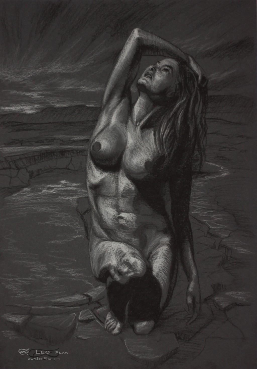 Figure 16, Leo Plaw, 24 x 34cm, pastel pencil on coloured paper.