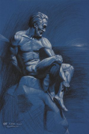 """Drawing Figure 18"", Leo Plaw, 24 x 34cm, pastel pencil on paper"