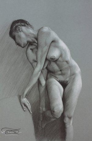 """""""Figure 21"""", Leo Plaw, 24 x 34cm, pastel pencil on paper"""