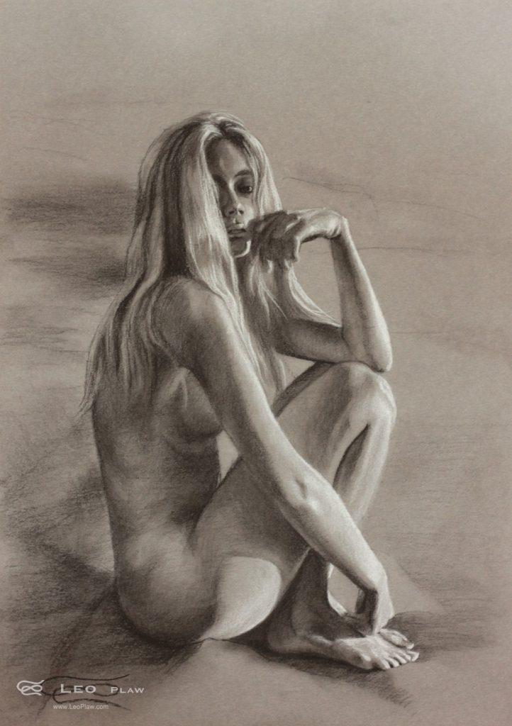 """""""Figure 20"""", Leo Plaw, 24 x 34cm, pastel pencil on paper"""