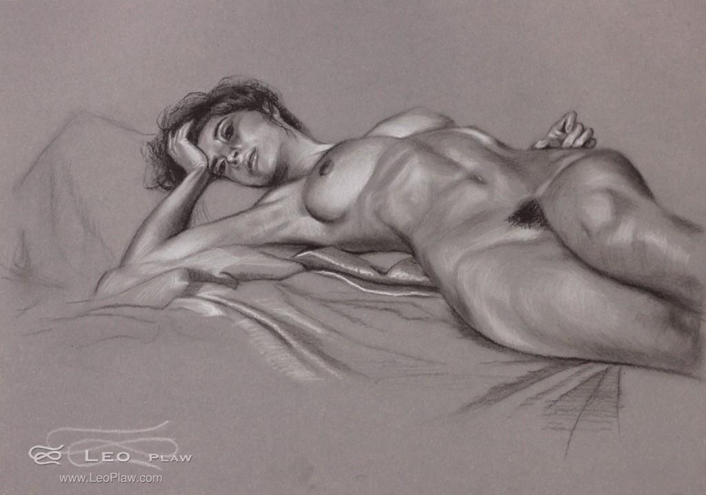 """""""Figure 23"""", Leo Plaw, 34 x 24cm, pastel pencil on paper"""