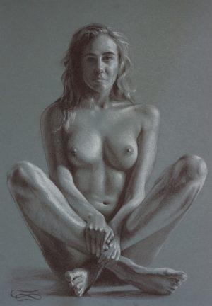 """""""Figure 24"""", Leo Plaw, 24 x 34cm, pastel pencil on paper"""