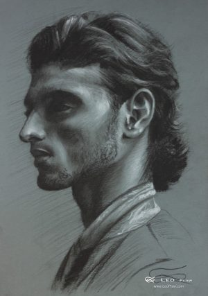 """Head Study 01"", Leo Plaw, 24 x 34cm, pastel pencil on paper"