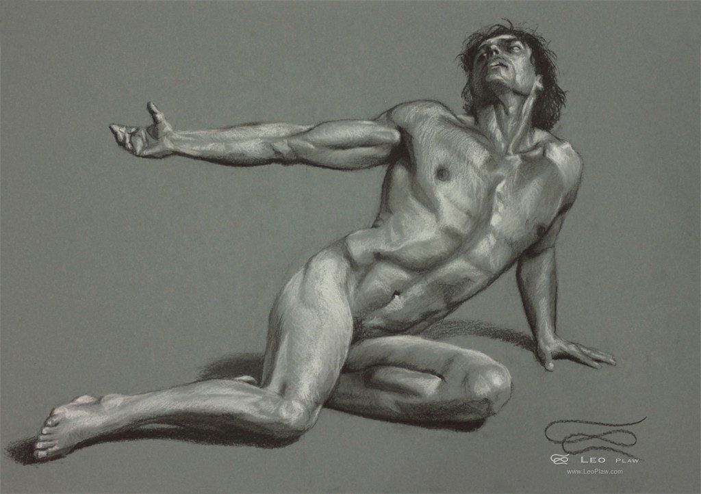 """""""Figure 26"""", Leo Plaw, 34 x 24cm, pastel pencil on paper"""
