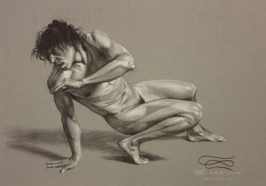"""""""Figure 27"""", Leo Plaw, 34 x 24cm, pastel pencil on paper"""