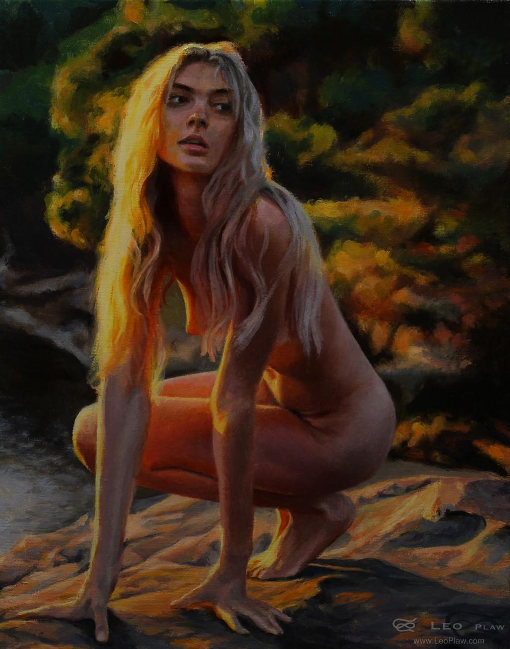 """Golden Light II"", Leo Plaw, 24 x 30cm, oil on canvas"