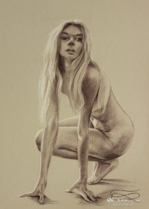 """Figure 28"", Leo Plaw, 24 x 33cm, pastel pencil on paper"