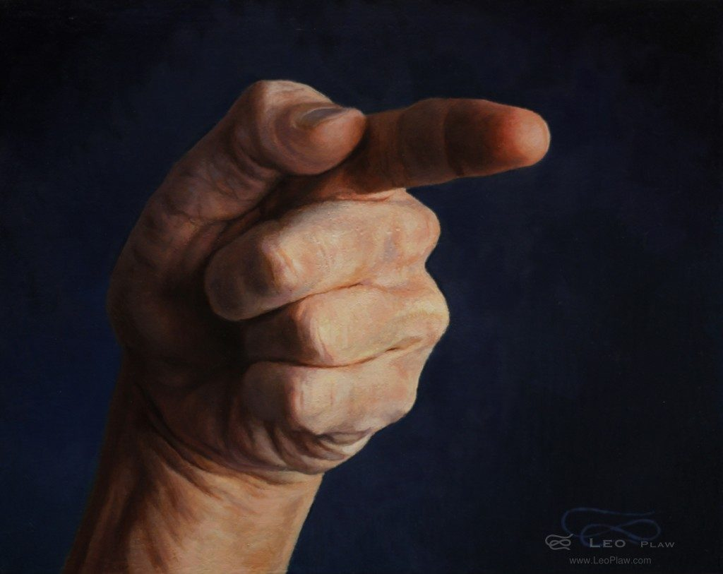 """Hands 13"", Leo Plaw, 30 x 24cm, oil on canvas"