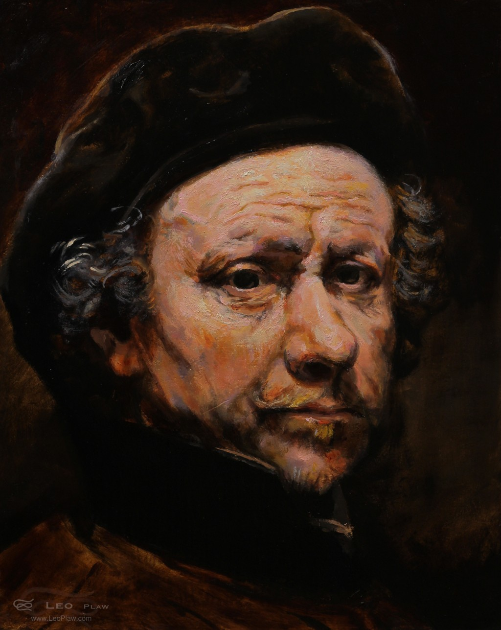 """""""Rembrandt 1655"""", Leo Plaw, 24 x 30cm, oil on canvas"""