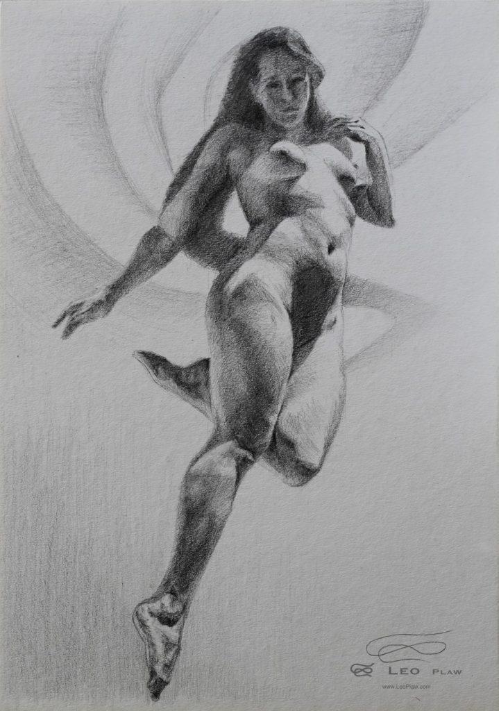 """Figure 29"", Leo Plaw, 24 x 34cm, graphite pencil on paper"