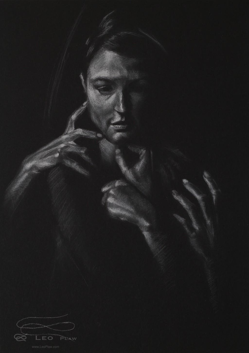 """""""Figure 30"""", Leo Plaw, 24 x 34cm, pastel pencil on paper"""