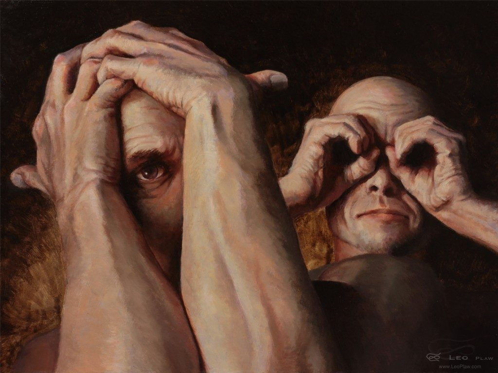 """Who Watches the Watcher?"", Leo Plaw, 40 x 30cm, oil on canvas"