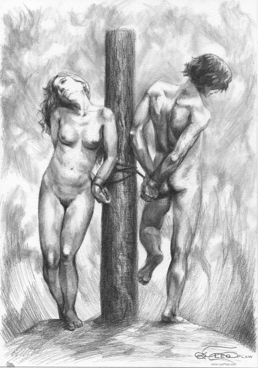 """Bound"", 21 x 30cm A4, graphite on paper"