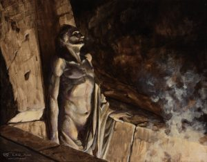 """Cross the Threshold"", Leo Plaw,, 30 x 24cm, oil on canvas"