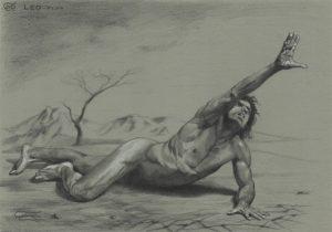 """Figure 35"", Leo Plaw, 34 x 24cm, graphite pencil on paper"