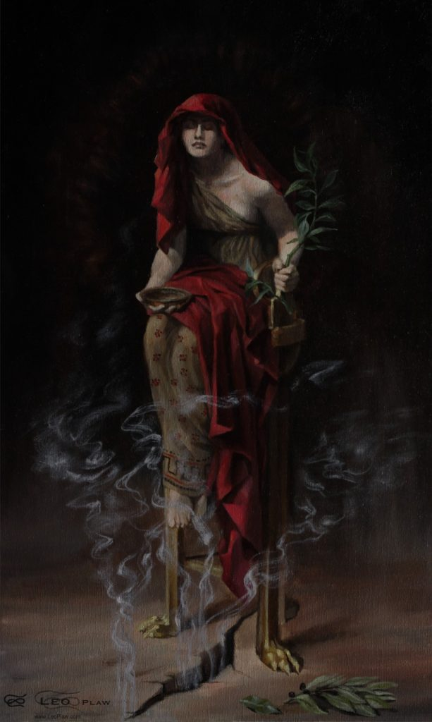 """Oracle of Delphi"", Leo Plaw, 30 x 50cm, oil on canvas study of John Collier's ""Priestess of Delphi"""
