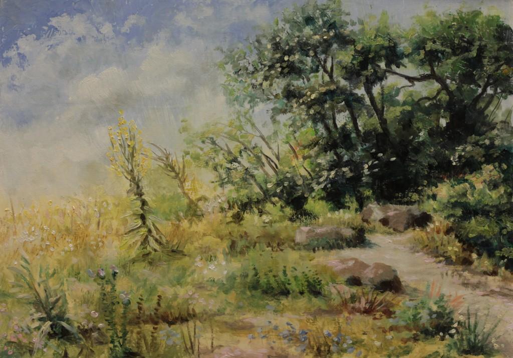 """Botanische Garten 20190722"", Leo Plaw, 30 x 21cm, oil on wood"