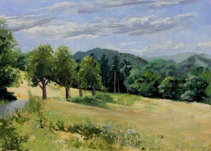 """Lainzer Tiergarten 20190802"", Leo Plaw, 30 x 21cm, oil on wood"