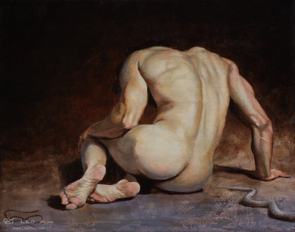 """Unforeseen Danger"", Leo Plaw, 30 x 24cm, oil on canvas"
