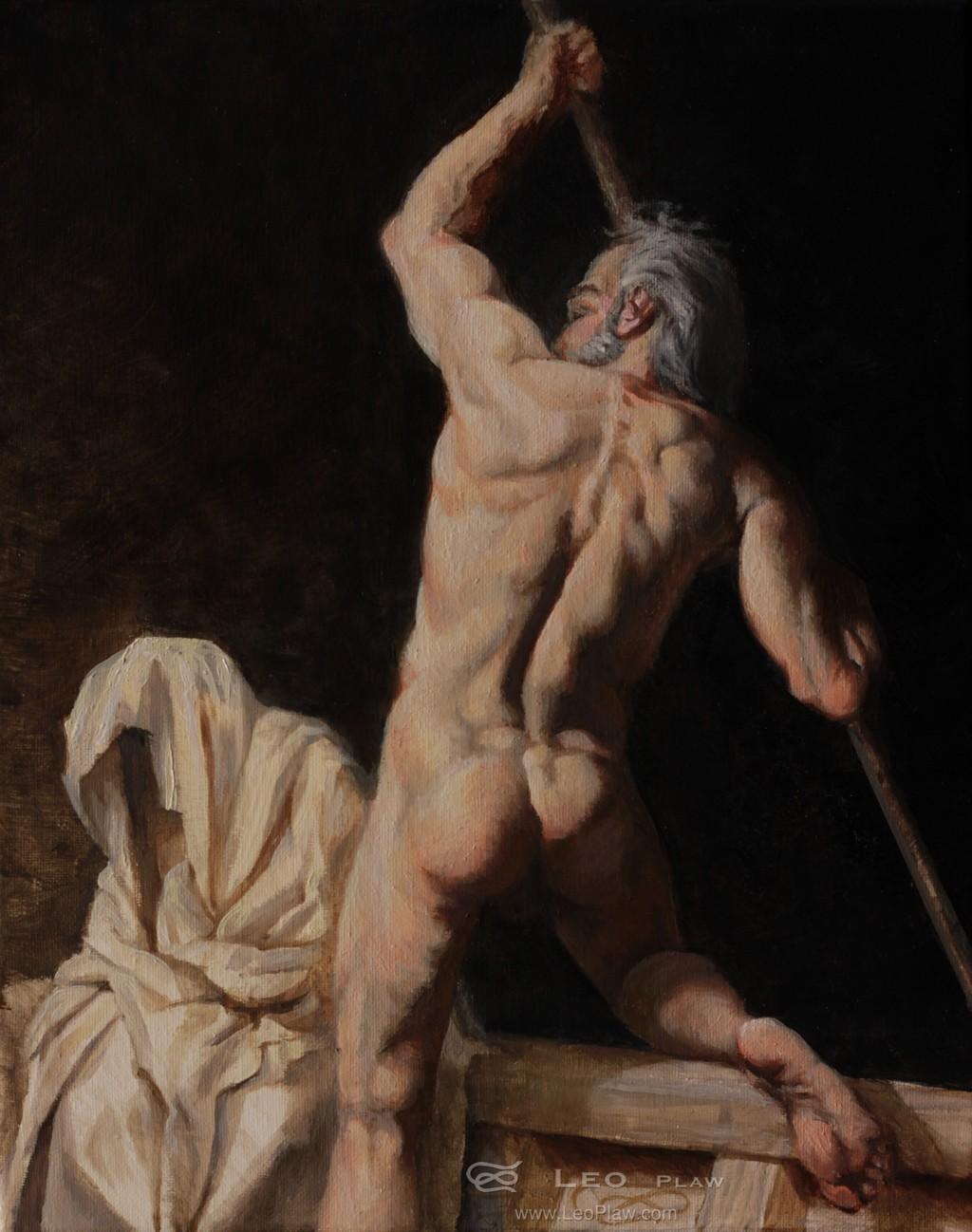 """Charon - the Ferryman"", Leo Plaw, 24 x 30cm, oil on canvas"