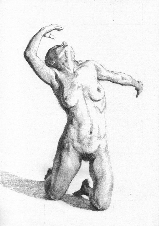 """Figure 50"", Leo Plaw, 21 x 30cm, graphite pencil on paper"