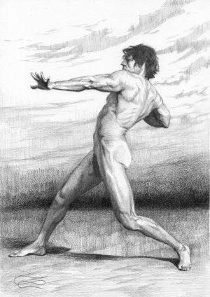 """Figure 53"", Leo Plaw, 21 x 30cm, graphite pencil on paper"