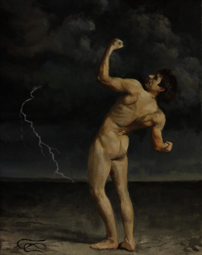 """Defying the Gods"", Leo Plaw, 21 x 30cm, oil on canvas"