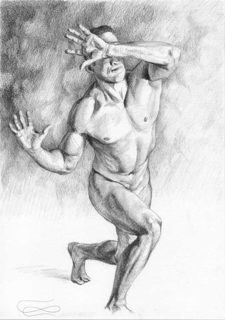 """Figure 44 - Graphic"", Leo Plaw, 21 x 30cm, graphite pencil on paper"